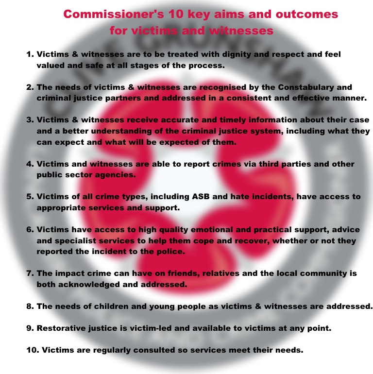 The Commissioner's 10 key aims and outcomes for victims and witnesses