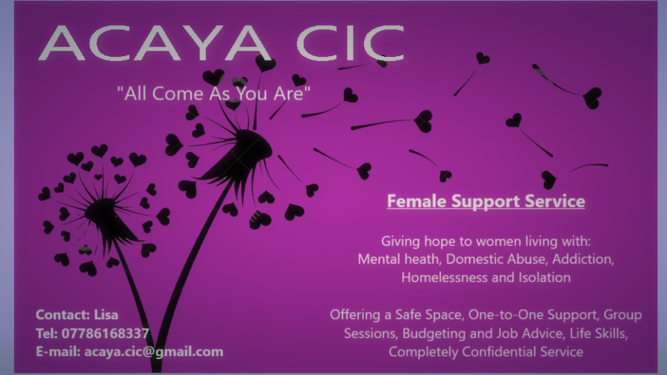 ACAYA CIC female support services banner