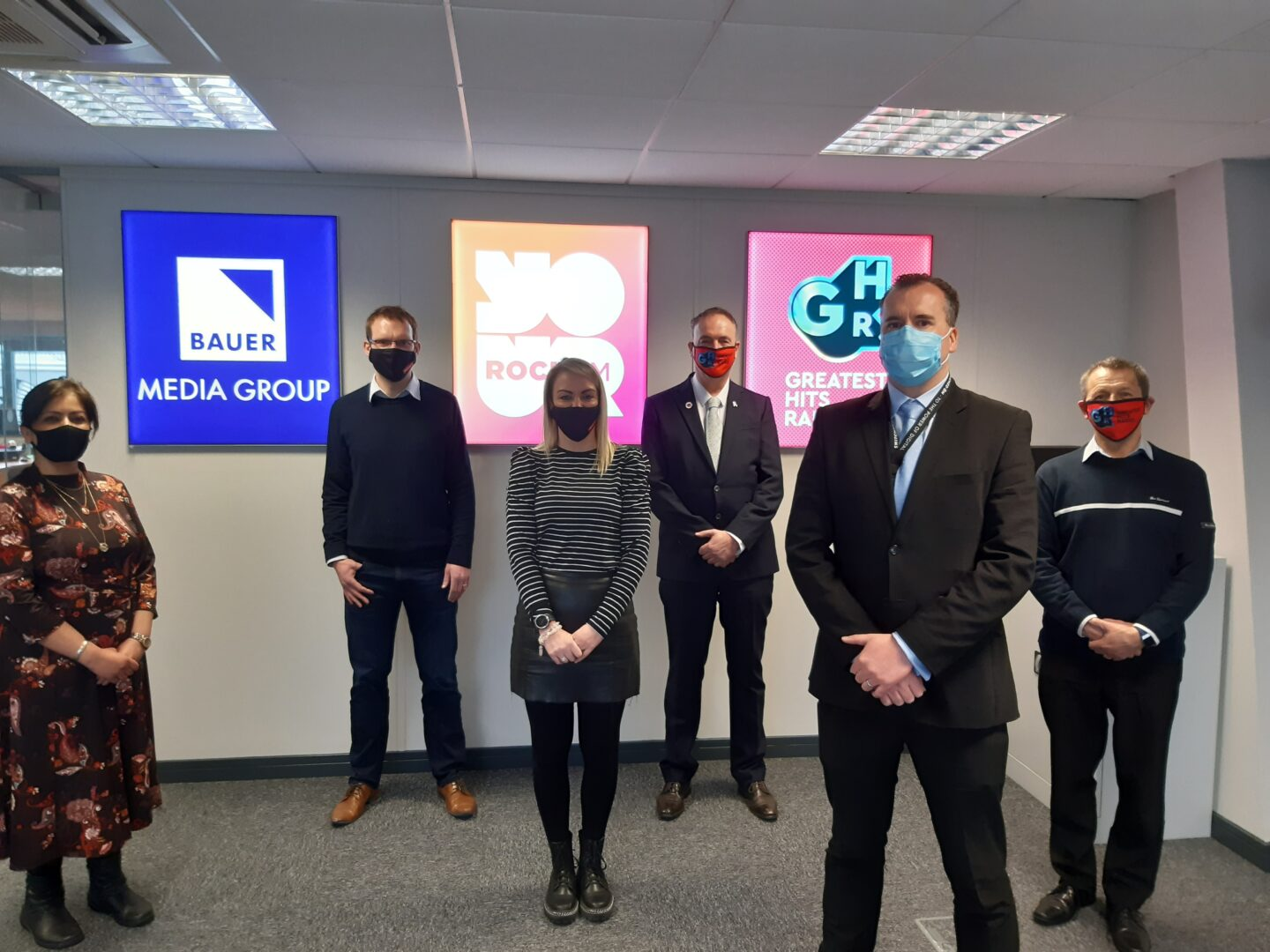 Pictured L-R: Shigufta Khan, Chief Executive Officer at The Wish Centre, Jonathan Breeze, Station Director, Rock FM & Greatest Hits Lancashire, Laura Hughes, Account Manager, Rock FM & Greatest Hits Lancashire, Clive Grunshaw, Police and Crime Commissioner, DCI Jason Richardson of Lancashire Police Public Protection Unit and Paul Cartwright, Operations Manager, Lancashire Victims Services.